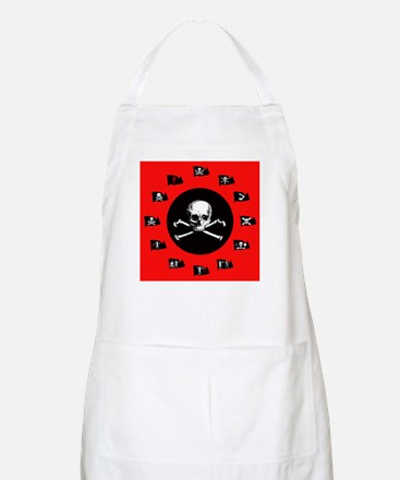 Pirate Flags, Red Jolly Roger BBQ Apron