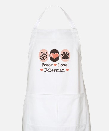 Peace Love Doberman Pinscher BBQ Apron