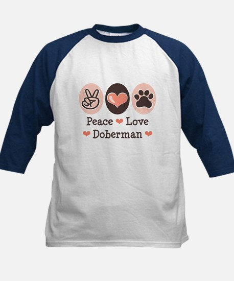 Peace Love Doberman Pinscher Kids Baseball Jersey