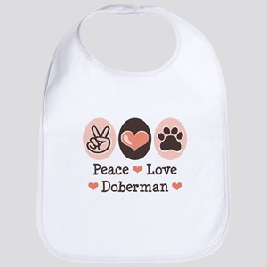 Peace Love Doberman Pinscher Bib