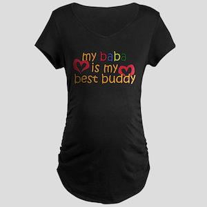 Baba is My Best Buddy Maternity Dark T-Shirt