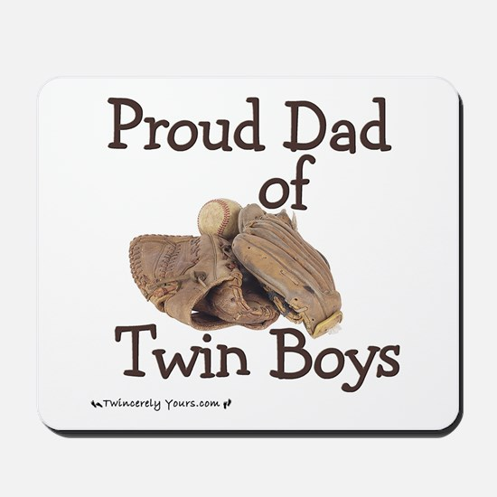 Proud Dad of Twin Boys Baseball Mousepad