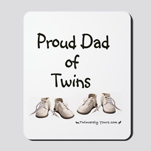 Proud Dad of Twins Baby Shoes Mousepad