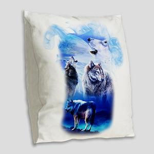 Wolf Moon Burlap Throw Pillow