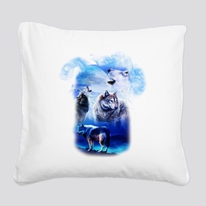 Wolf Moon Square Canvas Pillow