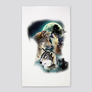 Wolf Wolves Moon Area Rug
