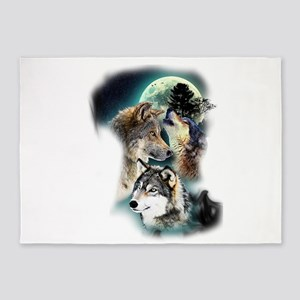 Wolf Wolves Moon 5'x7'Area Rug
