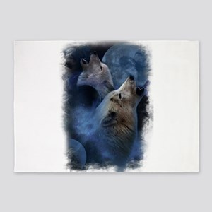 Wolf Wolves 5'x7'Area Rug