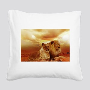 Lion Square Canvas Pillow