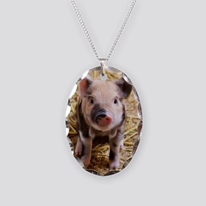 Pig Necklace Oval Charm