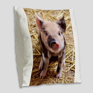 Pig Burlap Throw Pillow