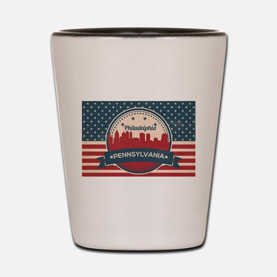 Retro Philadelphia Pa Skyline Shot Glass