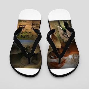 51177c9bf71299 African Safari Flip Flops - CafePress
