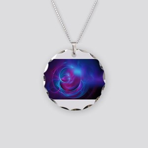 Abstract Art Necklace Circle Charm