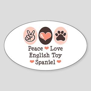Peace Love Toy Spaniel Oval Sticker