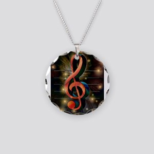 Clef Necklace Circle Charm