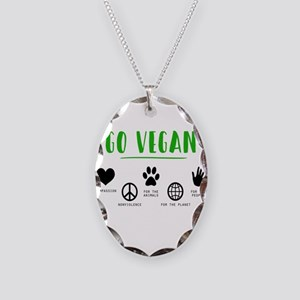 Vegan Food Healthy Necklace Oval Charm