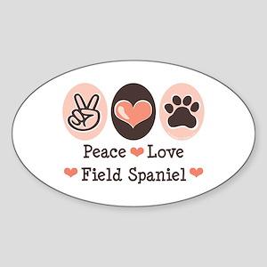 Peace Love Field Spaniel Oval Sticker