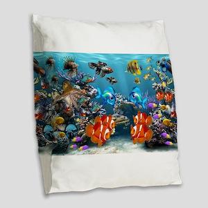 Underwater Burlap Throw Pillow