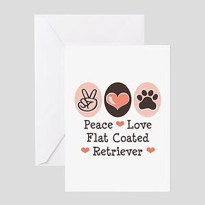 Peace Love Flatcoat Greeting Card