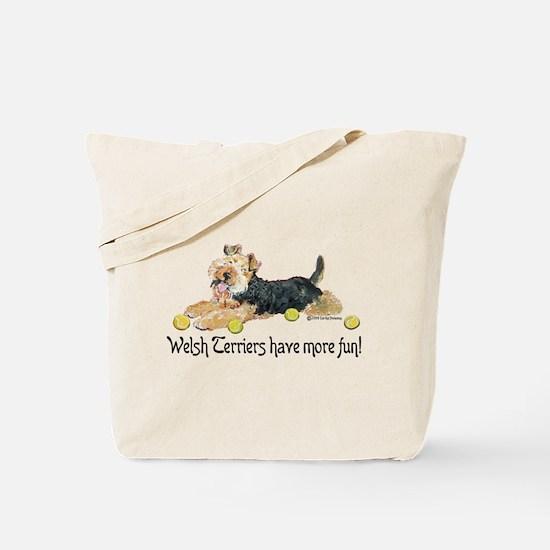 Welsh Terriers Fun Dogs Tote Bag