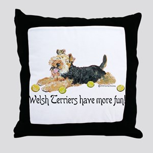 Welsh Terriers Fun Dogs Throw Pillow