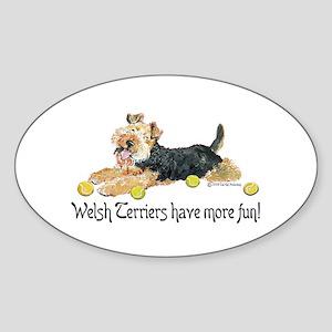Welsh Terriers Fun Dogs Oval Sticker