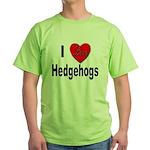 I Love Hedgehogs Green T-Shirt
