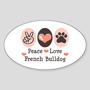 Peace Love French Bulldog Oval Sticker