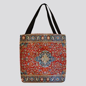 Red Blue Antique Persian Rug Polyester Tote Bag