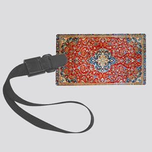Red Blue Antique Persian Rug Luggage Tag