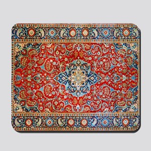Red Blue Antique Persian Rug Mousepad