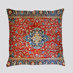 Red Blue Antique Persian Rug Everyday Pillow
