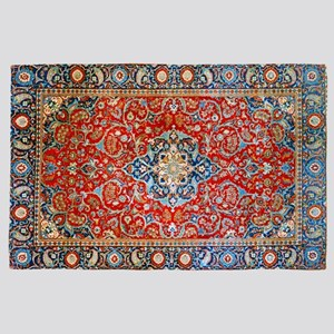Red Blue Antique Persian Rug 4' x 6' Rug