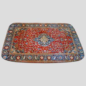 Red Blue Antique Persian Rug Bathmat