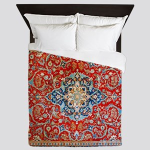 Red Blue Antique Persian Rug Queen Duvet