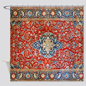 Red Blue Antique Persian Rug Shower Curtain