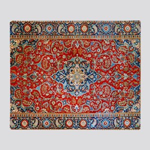 Red Blue Antique Persian Rug Throw Blanket