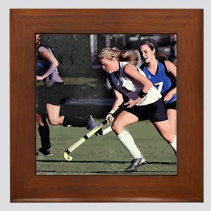 Girls Field Hockey Action Framed Tile