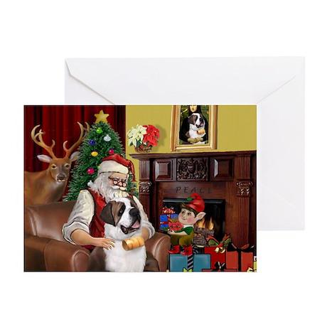 Santa's Saint Bernard Greeting Cards (Pk of 10