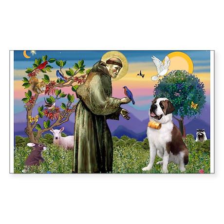 St. Francis & Saint Bernard Rectangle Sticker