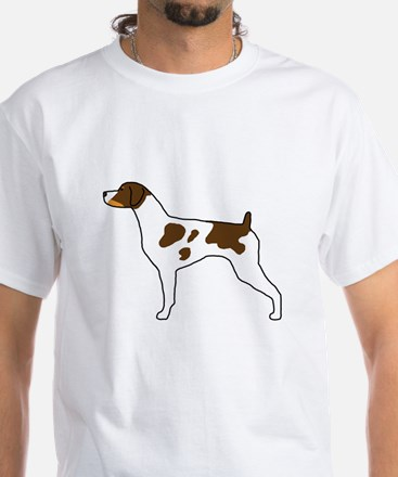 Tri-Color Brittany White T-Shirt