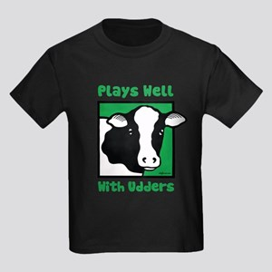 Plays Well With Udders Kids Dark T-Shirt