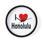 I Love Honolulu Wall Clock