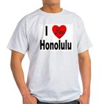 I Love Honolulu (Front) Ash Grey T-Shirt