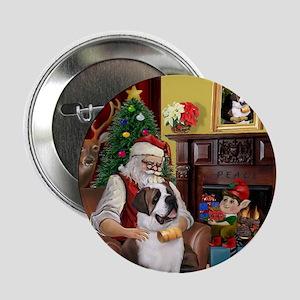 Santa's Saint Bernard Button