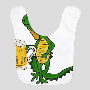 Cute Iguana Drinking Beer Polyester Baby Bib