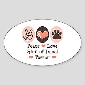 Peace Love Imaal Terrier Oval Sticker