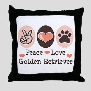 Peace Love Golden Retriever Throw Pillow