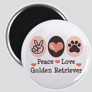 Peace Love Golden Retriever Magnet